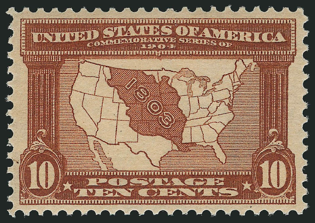 US Stamps Value Scott Catalog #327: 1904 10c Louisiana Purchase Exposition. Robert Siegel Auction Galleries, Feb 2015, Sale 1093, Lot 69