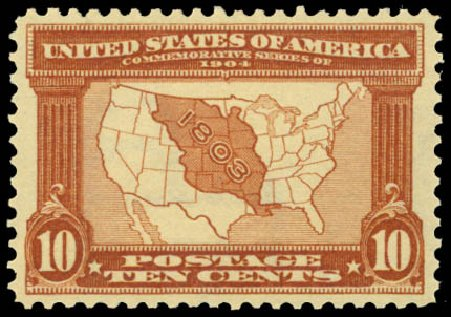 Price of US Stamps Scott Catalogue 327 - 10c 1904 Louisiana Purchase Exposition. Daniel Kelleher Auctions, Sep 2014, Sale 655, Lot 401