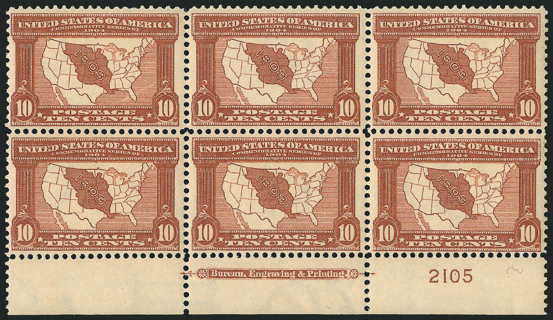 Cost of US Stamp Scott # 327: 1904 10c Louisiana Purchase Exposition. Robert Siegel Auction Galleries, Feb 2015, Sale 1093, Lot 71