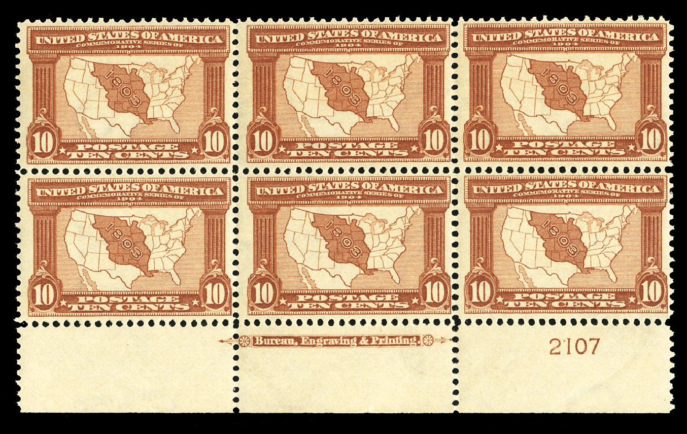 US Stamps Price Scott Catalog 327: 10c 1904 Louisiana Purchase Exposition. Cherrystone Auctions, Jul 2015, Sale 201507, Lot 2115