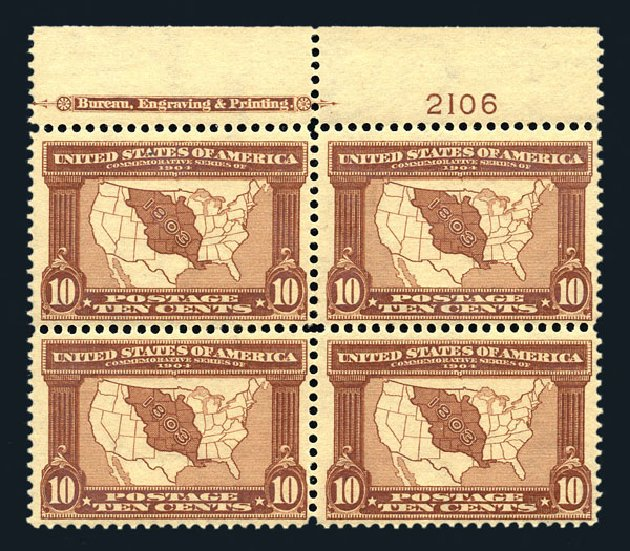 US Stamp Prices Scott Catalogue #327 - 10c 1904 Louisiana Purchase Exposition. Harmer-Schau Auction Galleries, Aug 2015, Sale 106, Lot 1755