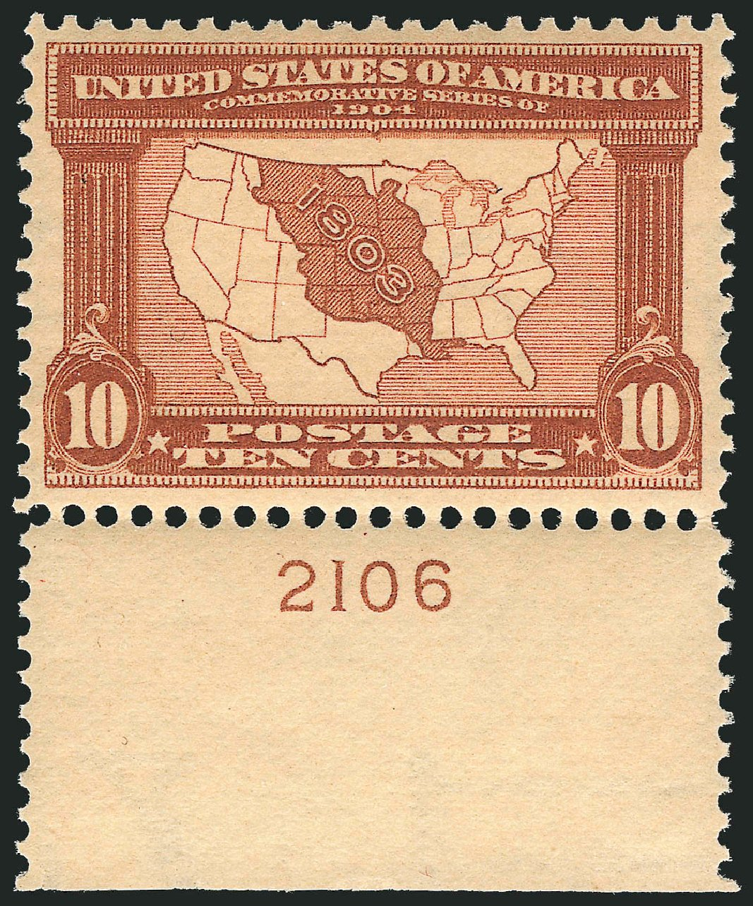 Cost of US Stamp Scott Catalog # 327 - 10c 1904 Louisiana Purchase Exposition. Robert Siegel Auction Galleries, Apr 2015, Sale 1096, Lot 565