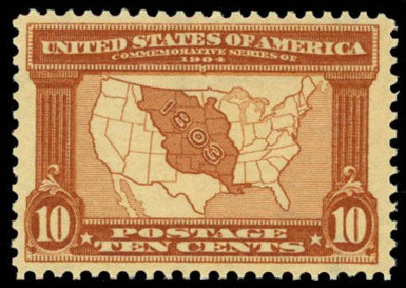 Values of US Stamp Scott Cat. #327 - 1904 10c Louisiana Purchase Exposition. Daniel Kelleher Auctions, Oct 2014, Sale 660, Lot 2332