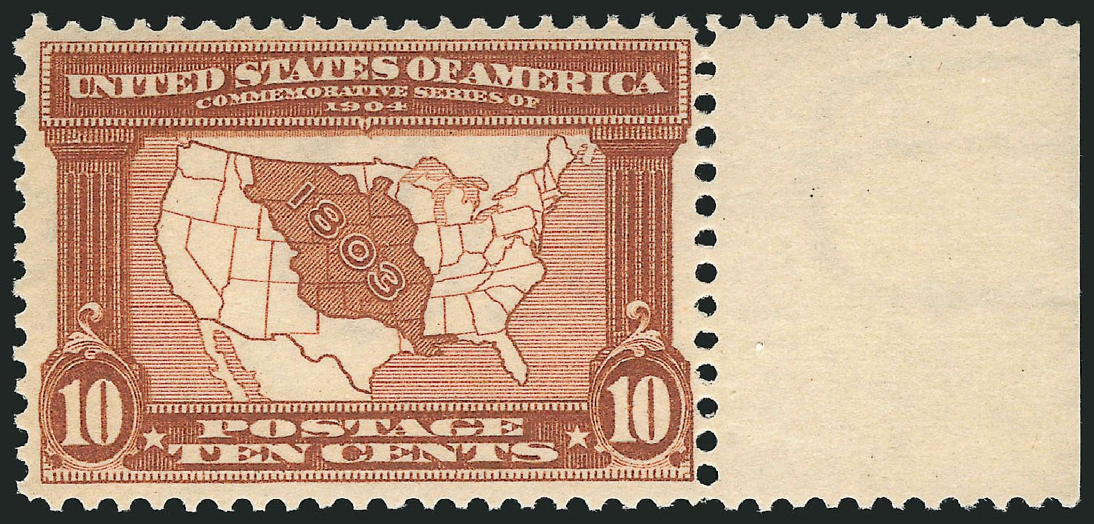 Values of US Stamps Scott Catalog 327: 10c 1904 Louisiana Purchase Exposition. Robert Siegel Auction Galleries, Dec 2014, Sale 1090, Lot 1442