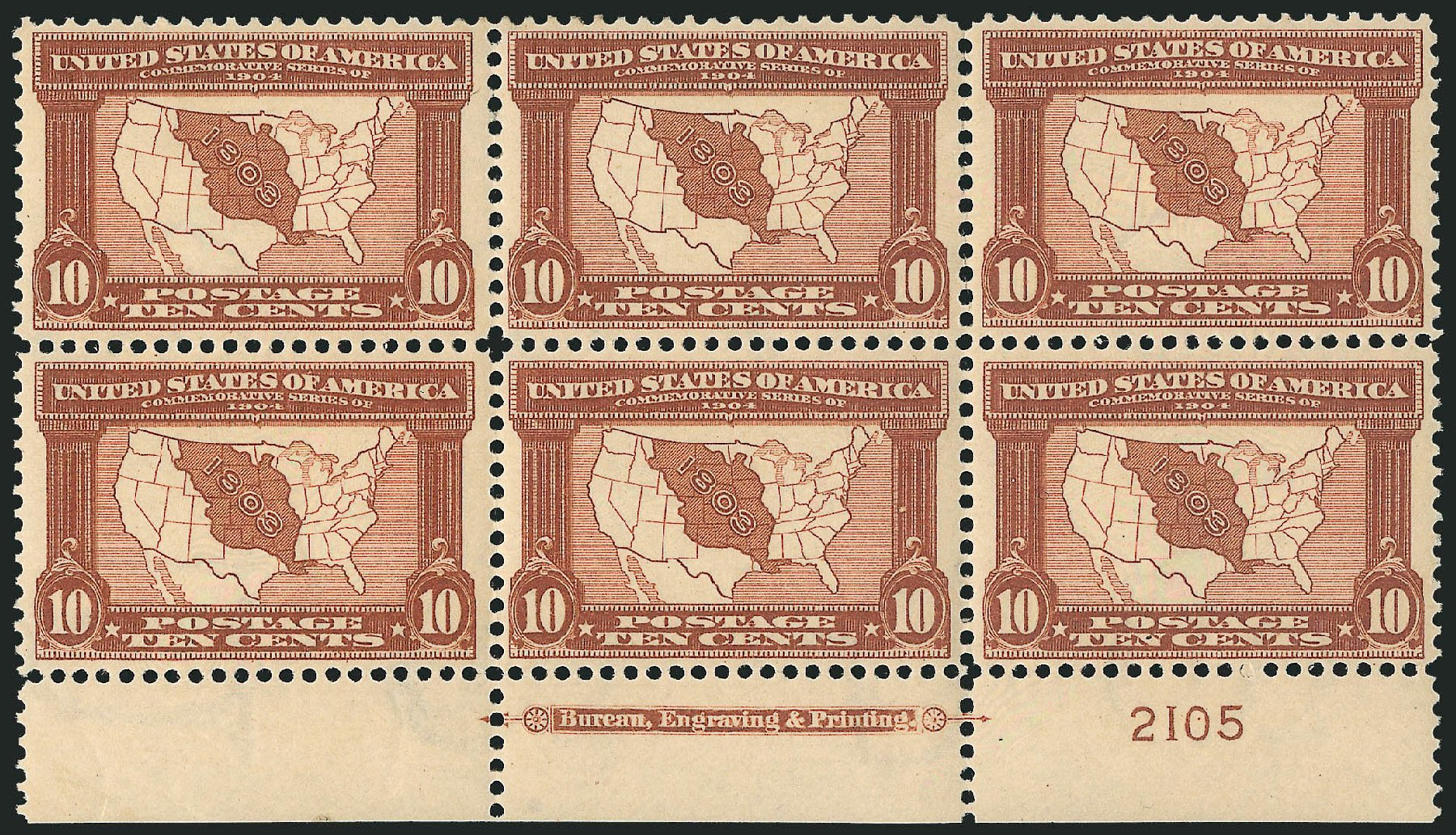 Price of US Stamps Scott 327: 1904 10c Louisiana Purchase Exposition. Robert Siegel Auction Galleries, Feb 2015, Sale 1093, Lot 72