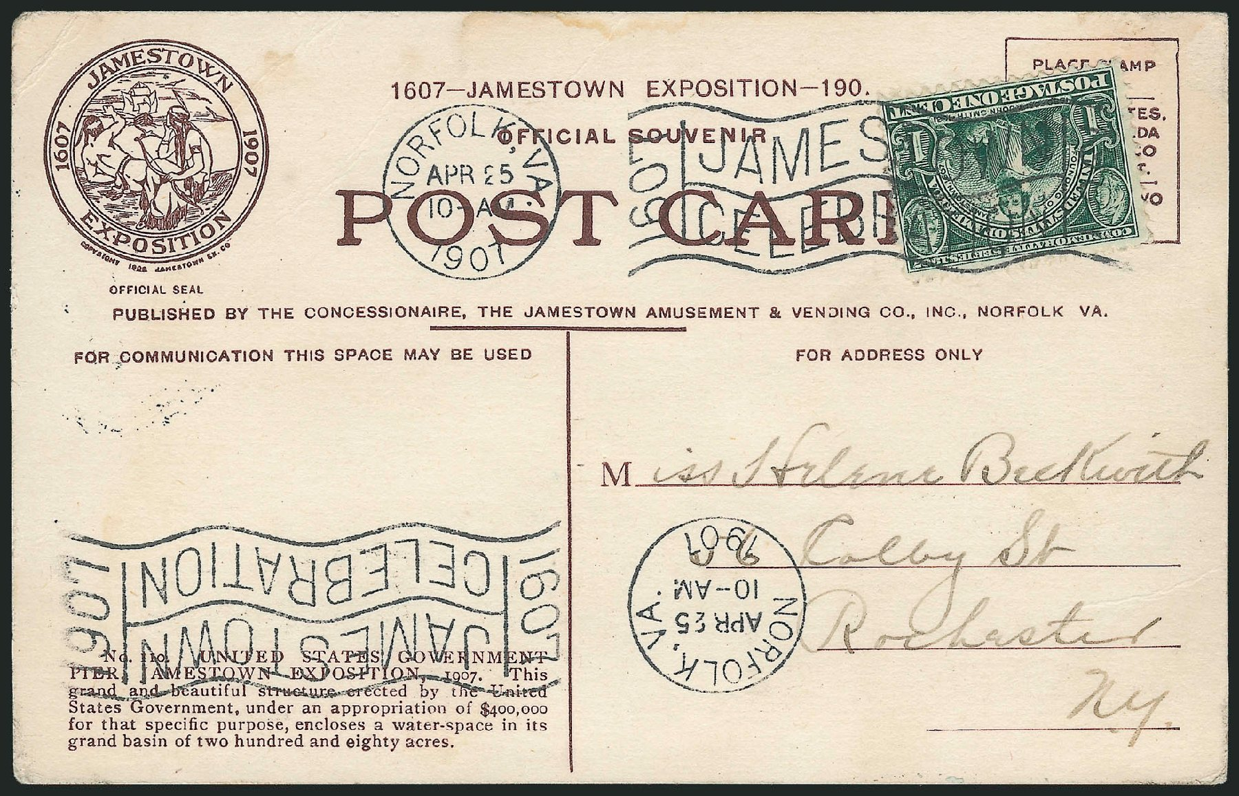 US Stamp Price Scott Catalog 328: 1907 1c Jameston Exposition. Robert Siegel Auction Galleries, Jun 2012, Sale 1025, Lot 214