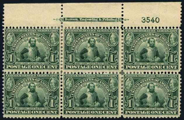 Prices of US Stamps Scott #328: 1907 1c Jameston Exposition. Harmer-Schau Auction Galleries, Oct 2013, Sale 99, Lot 172