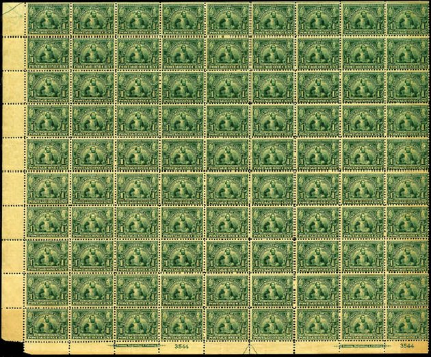 Costs of US Stamps Scott Catalog # 328 - 1c 1907 Jameston Exposition. Harmer-Schau Auction Galleries, Jan 2014, Sale 100, Lot 563