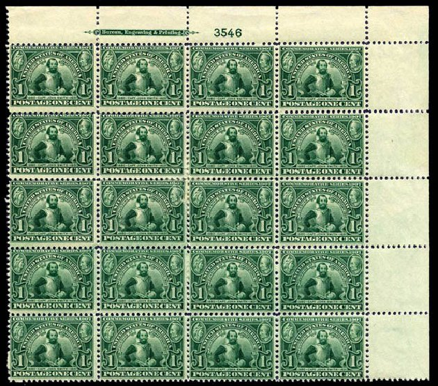 US Stamps Value Scott #328 - 1907 1c Jameston Exposition. Harmer-Schau Auction Galleries, Aug 2014, Sale 102, Lot 1973