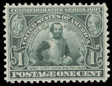 US Stamps Values Scott Catalog 328 - 1c 1907 Jameston Exposition. Daniel Kelleher Auctions, Aug 2015, Sale 672, Lot 2643