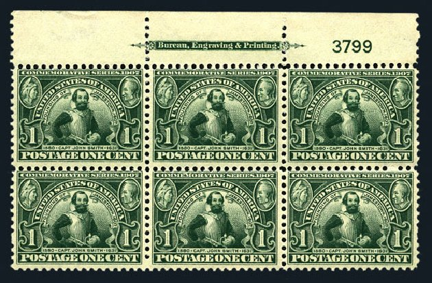 US Stamp Value Scott Catalogue 328: 1907 1c Jameston Exposition. Harmer-Schau Auction Galleries, Aug 2015, Sale 106, Lot 1756