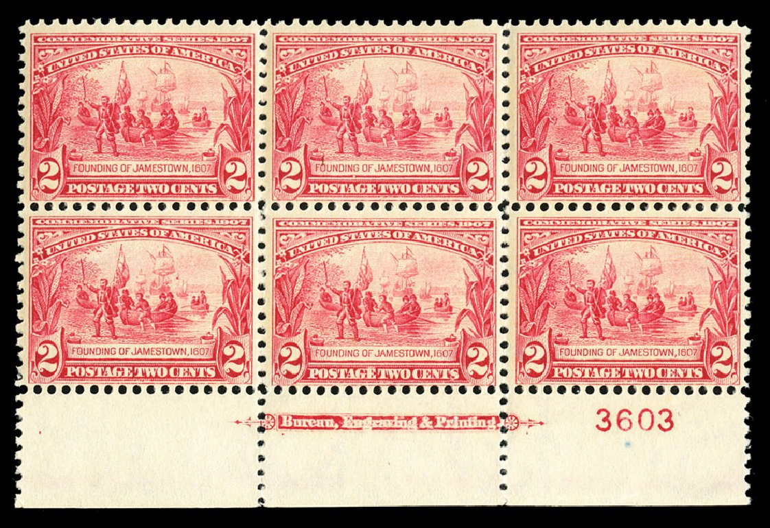 Price of US Stamps Scott Catalogue 329 - 2c 1907 Jameston Exposition. Cherrystone Auctions, Jul 2015, Sale 201507, Lot 2117