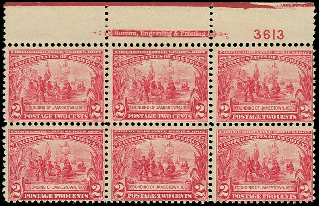 Cost of US Stamps Scott Cat. 329: 2c 1907 Jameston Exposition. H.R. Harmer, Jun 2015, Sale 3007, Lot 3309