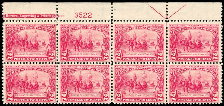 US Stamps Value Scott Cat. 329: 1907 2c Jameston Exposition. Schuyler J. Rumsey Philatelic Auctions, Apr 2015, Sale 60, Lot 2331