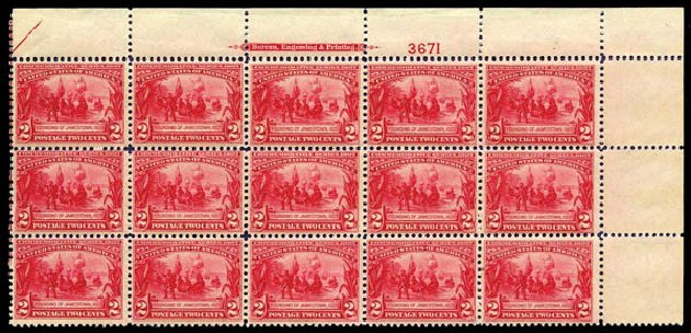 Prices of US Stamps Scott Catalog # 329 - 1907 2c Jameston Exposition. Harmer-Schau Auction Galleries, Aug 2014, Sale 102, Lot 1974