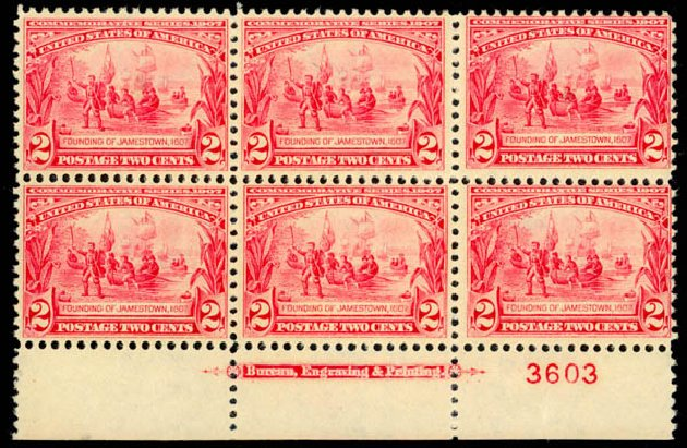 Value of US Stamp Scott #329 - 1907 2c Jameston Exposition. Daniel Kelleher Auctions, Oct 2014, Sale 660, Lot 2335