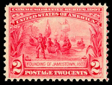 Costs of US Stamps Scott Catalog # 329 - 1907 2c Jameston Exposition. Daniel Kelleher Auctions, Dec 2014, Sale 661, Lot 292
