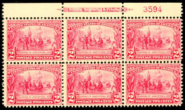 US Stamp Price Scott Catalogue # 329: 1907 2c Jameston Exposition. Daniel Kelleher Auctions, Aug 2015, Sale 672, Lot 2642
