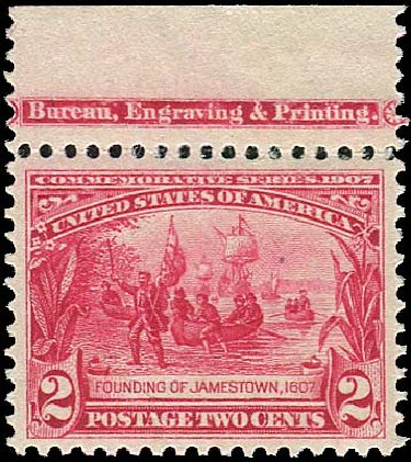 Costs of US Stamp Scott Catalog #329 - 2c 1907 Jameston Exposition. Regency-Superior, Aug 2015, Sale 112, Lot 703