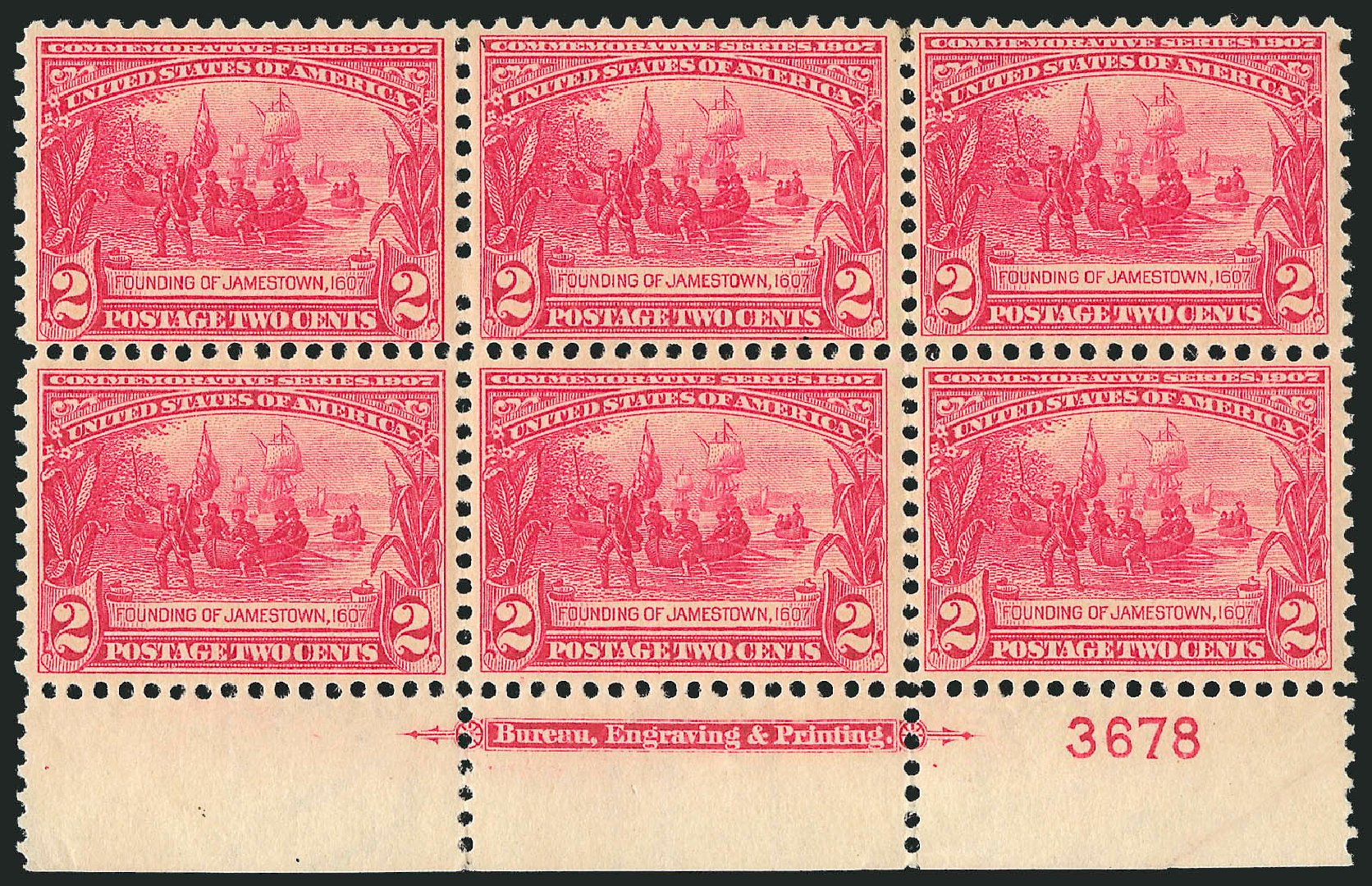 Price of US Stamps Scott Cat. # 329: 1907 2c Jameston Exposition. Robert Siegel Auction Galleries, Feb 2015, Sale 1093, Lot 76