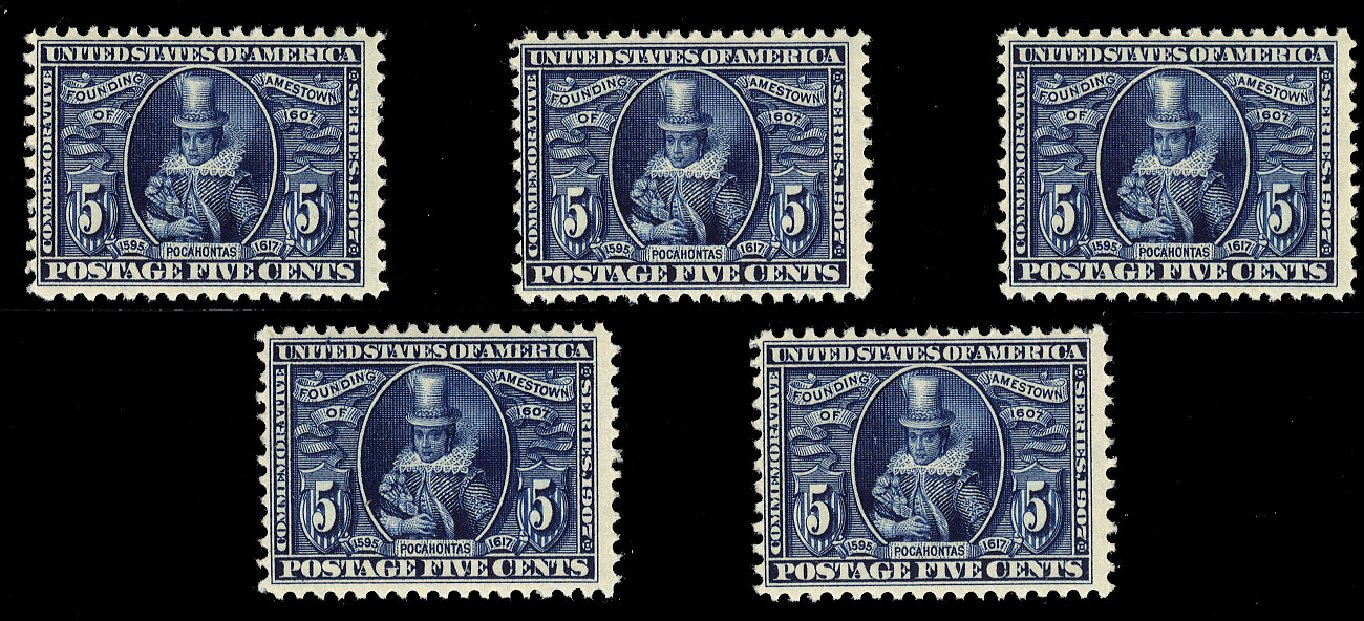 US Stamp Prices Scott Cat. # 330: 5c 1907 Jameston Exposition. Cherrystone Auctions, Jan 2015, Sale 201501, Lot 177