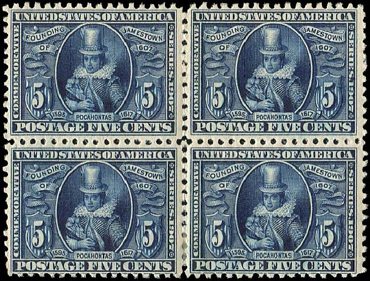 Value of US Stamp Scott 330: 5c 1907 Jameston Exposition. Regency-Superior, Aug 2015, Sale 112, Lot 707