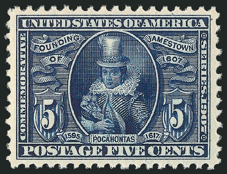 US Stamp Price Scott Catalog #330: 1907 5c Jameston Exposition. Robert Siegel Auction Galleries, Feb 2015, Sale 1093, Lot 77