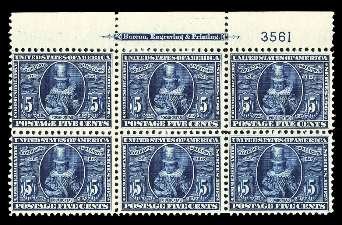 Prices of US Stamp Scott Catalog 330 - 1907 5c Jameston Exposition. Cherrystone Auctions, Jul 2015, Sale 201507, Lot 2118