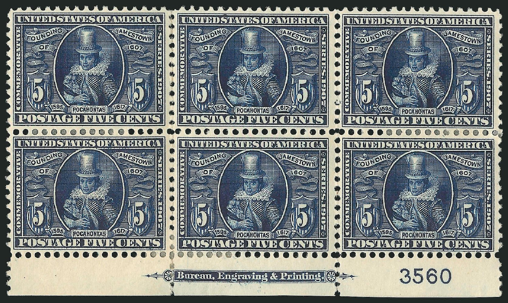 Costs of US Stamps Scott Cat. 330 - 5c 1907 Jameston Exposition. Robert Siegel Auction Galleries, Feb 2015, Sale 1093, Lot 78
