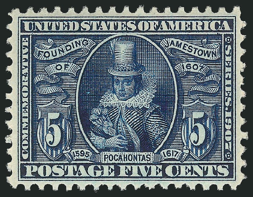 US Stamps Prices Scott Catalogue # 330: 5c 1907 Jameston Exposition. Robert Siegel Auction Galleries, Dec 2014, Sale 1090, Lot 1444