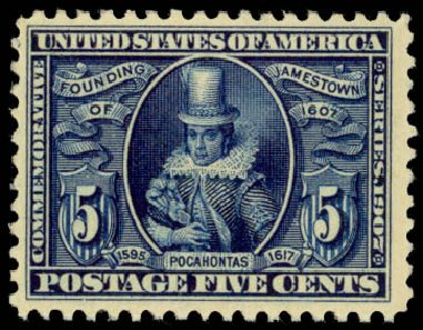 Value of US Stamp Scott Catalogue # 330: 1907 5c Jameston Exposition. Daniel Kelleher Auctions, Jan 2015, Sale 663, Lot 1672