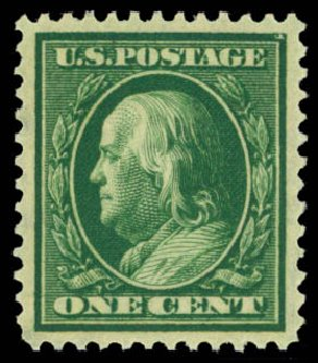 US Stamp Price Scott # 331 - 1908 1c Franklin. Daniel Kelleher Auctions, May 2015, Sale 669, Lot 2881