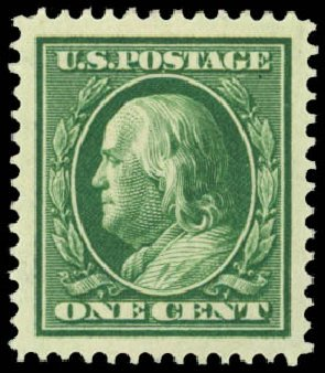 Values of US Stamp Scott Cat. 331 - 1908 1c Franklin. Daniel Kelleher Auctions, Sep 2014, Sale 655, Lot 404