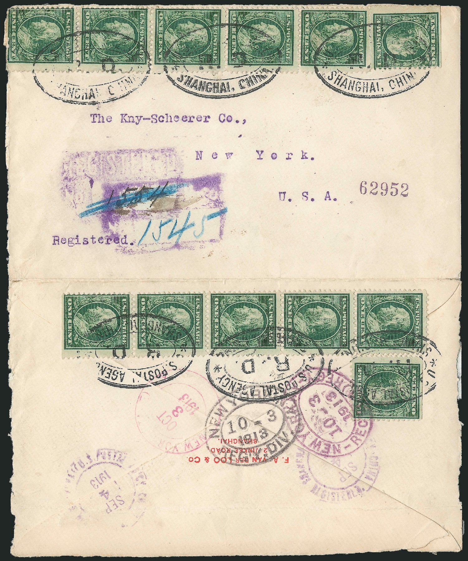 Prices of US Stamp Scott Catalogue 331 - 1c 1908 Franklin. Robert Siegel Auction Galleries, Jun 2015, Sale 1105, Lot 2645