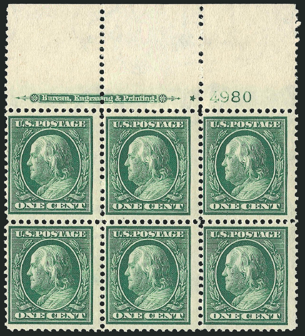 US Stamps Value Scott Catalogue # 331: 1c 1908 Franklin. Robert Siegel Auction Galleries, Sep 2014, Sale 1078, Lot 463