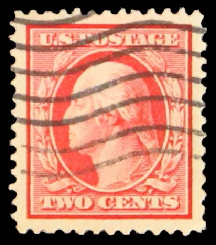 US Stamps Values Scott Catalogue #332 - 2c 1908 Washington. Daniel Kelleher Auctions, May 2014, Sale 652, Lot 498