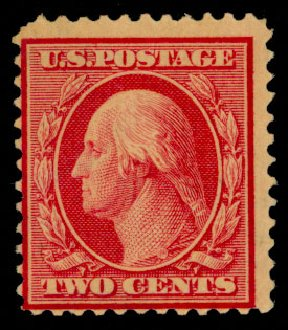 US Stamps Value Scott Catalogue # 332 - 2c 1908 Washington. Daniel Kelleher Auctions, Sep 2014, Sale 655, Lot 405