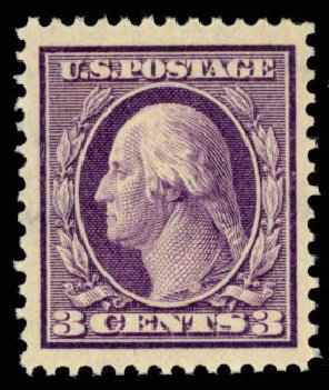 US Stamps Value Scott # 333 - 1908 3c Washington. Daniel Kelleher Auctions, Mar 2013, Sale 635, Lot 450