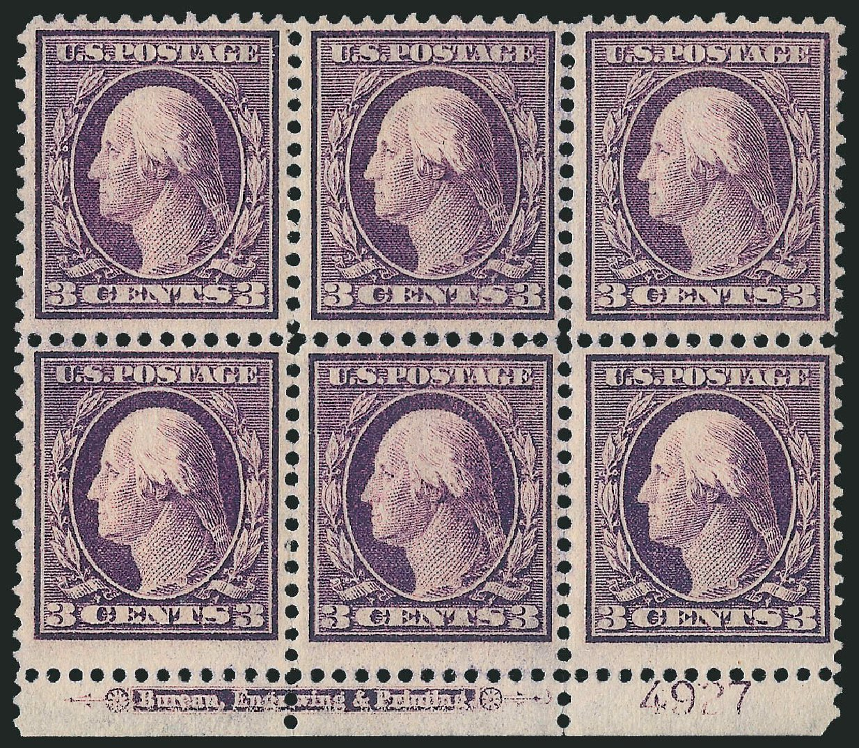 US Stamps Price Scott Catalogue 333 - 3c 1908 Washington. Robert Siegel Auction Galleries, Feb 2015, Sale 1093, Lot 84