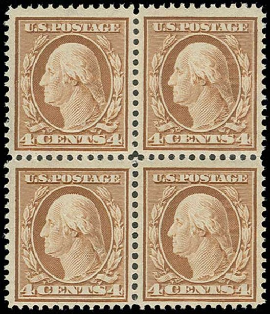 Prices of US Stamps Scott Catalogue 334: 1908 4c Washington. H.R. Harmer, Jun 2013, Sale 3003, Lot 1237