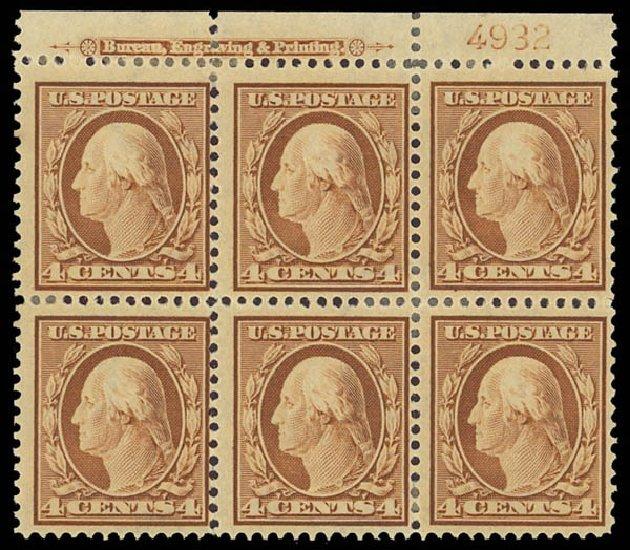 US Stamps Value Scott Cat. # 334 - 1908 4c Washington. Daniel Kelleher Auctions, Aug 2012, Sale 631, Lot 1097