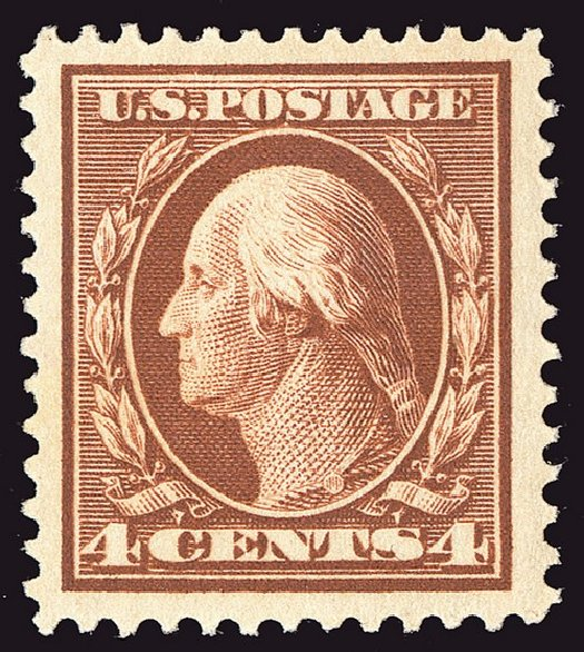 US Stamps Values Scott Cat. #334: 4c 1908 Washington. Spink Shreves Galleries, Jan 2014, Sale 146, Lot 367
