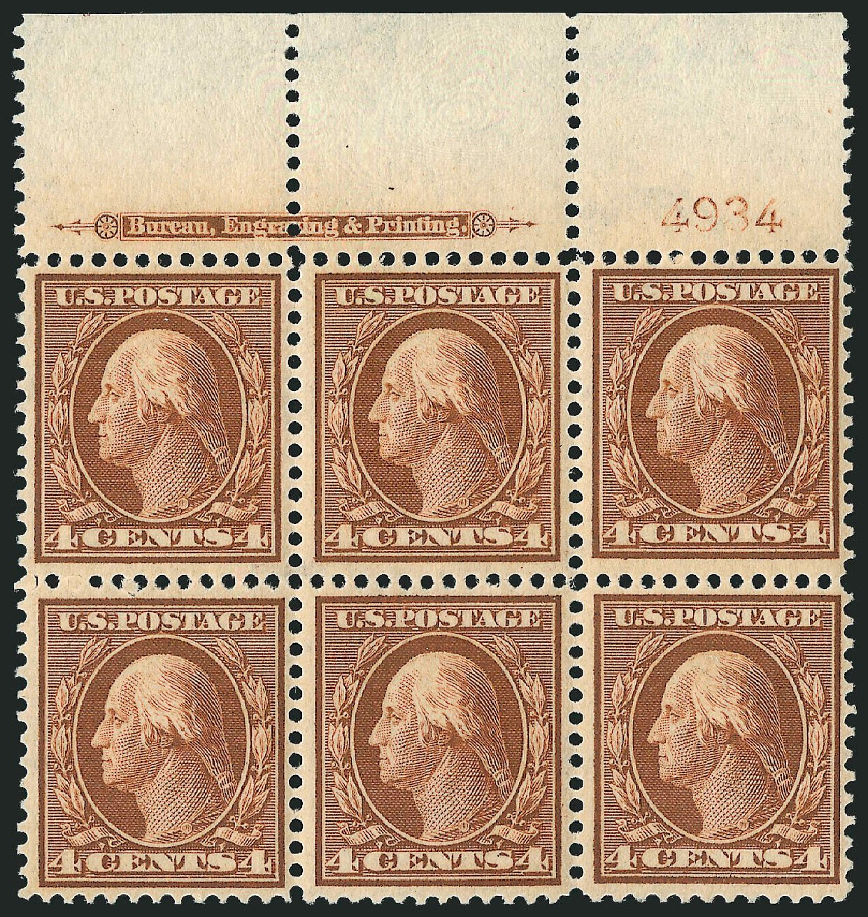 US Stamps Price Scott #334 - 1908 4c Washington. Robert Siegel Auction Galleries, Sep 2014, Sale 1078, Lot 471