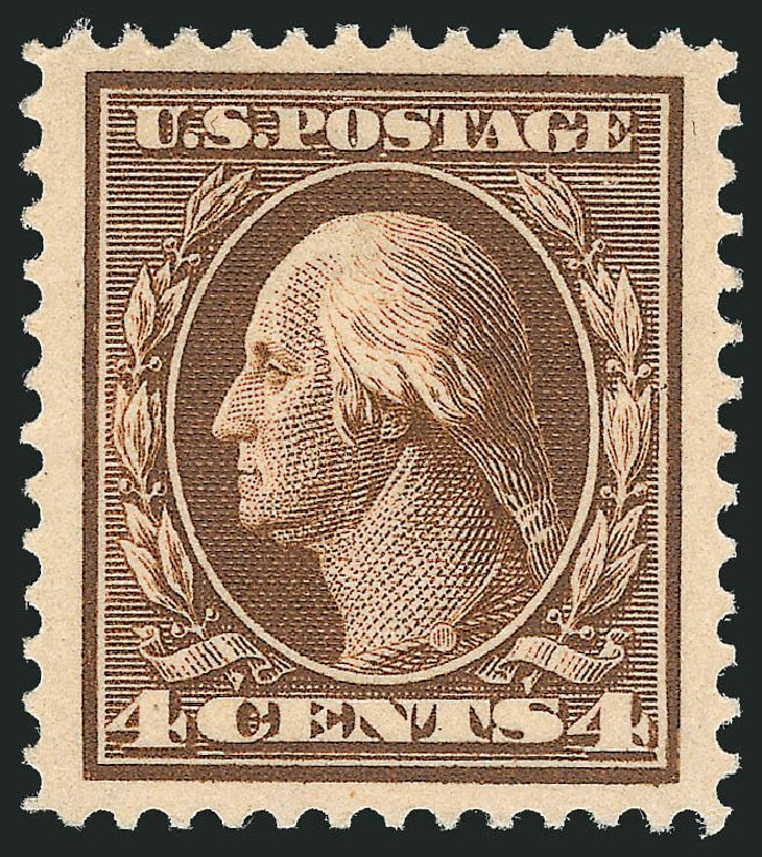 US Stamp Prices Scott Cat. # 334 - 1908 4c Washington. Robert Siegel Auction Galleries, Dec 2013, Sale 1062, Lot 504