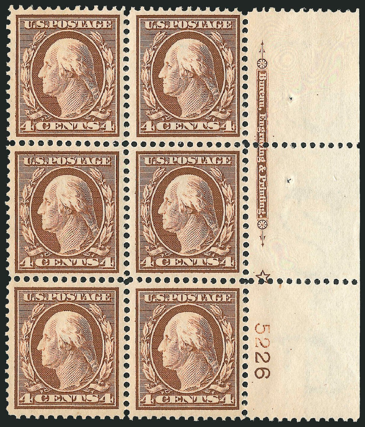 US Stamp Values Scott Catalogue #334 - 1908 4c Washington. Robert Siegel Auction Galleries, Mar 2014, Sale 1067, Lot 1415