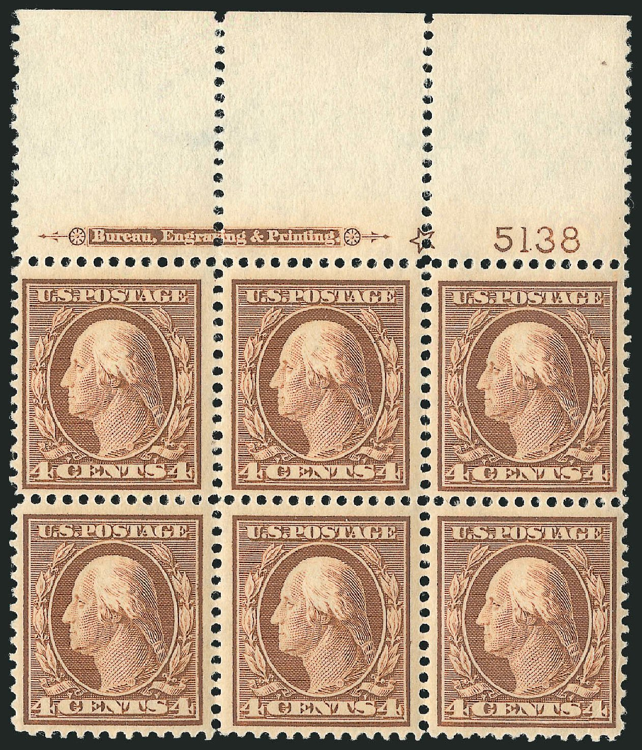 Value of US Stamp Scott Catalogue #334 - 4c 1908 Washington. Robert Siegel Auction Galleries, Feb 2015, Sale 1093, Lot 85
