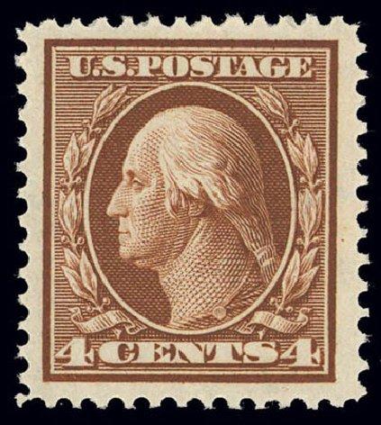 US Stamps Value Scott Catalogue #334 - 4c 1908 Washington. Daniel Kelleher Auctions, Feb 2013, Sale 634, Lot 212