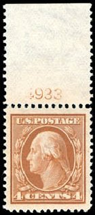 US Stamps Values Scott Catalogue # 334 - 4c 1908 Washington. Schuyler J. Rumsey Philatelic Auctions, Apr 2015, Sale 60, Lot 2792