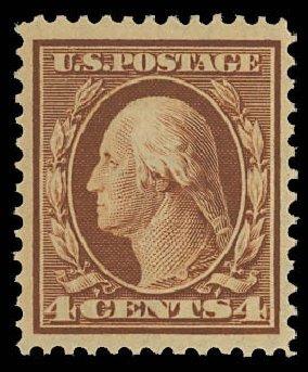 Cost of US Stamps Scott Cat. #334 - 1908 4c Washington. Daniel Kelleher Auctions, Oct 2012, Sale 632, Lot 1273