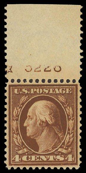Values of US Stamp Scott Catalog #334 - 4c 1908 Washington. Daniel Kelleher Auctions, Aug 2012, Sale 631, Lot 1096